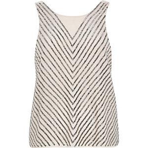 Pink sleeveless embellished vest