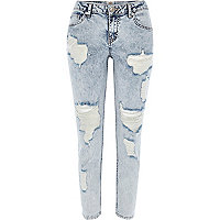 Acid wash ripped Eva girlfriend jeans