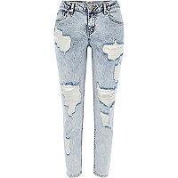 Acid wash ripped Eva girlfriend jeans