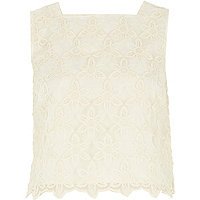 Cream lace tank top
