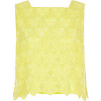 Yellow boxy lace tank top