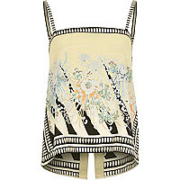 Yellow vintage print split back cami