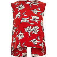 Red floral bow back sleeveless tank top