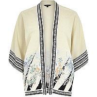 Yellow vintage print kimono