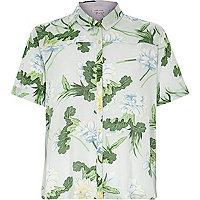 Green floral print boxy shirt