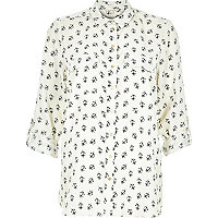 Cream anchor print long sleeve shirt