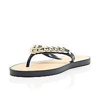 Black chain trim flip flops