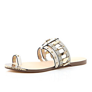 Grey loop toe studded sandals