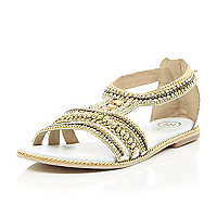 White leather bead and gem sandals