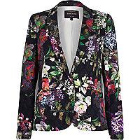 Black floral print blazer