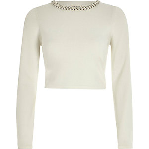 White fitted pearl trim crop top