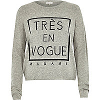 Grey tres en vogue long sleeved jumper