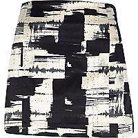 Black graphic print mini skirt