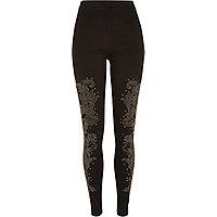 Black embellished leggings