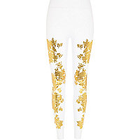 White metallic gold print leggings