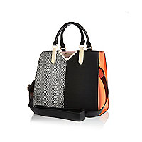 Black and orange split front tote bag