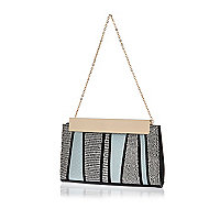 Blue snake print stripe frame clutch bag