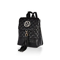 Black quilted tassel branded backpack