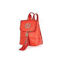 Red mini tassel branded backpack
