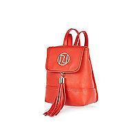 Red mini tassel branded backpack