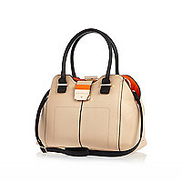 Cream contrast lining frame bag