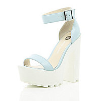 Blue leather chunky cleated sole platforms