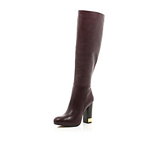 Red leather knee high gold heel boots