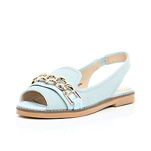 Blue chain front peep toe sling back flats