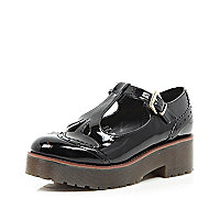 Black patent chunky cut out strap geek shoes