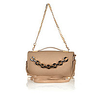Beige chain detail strappy clutch