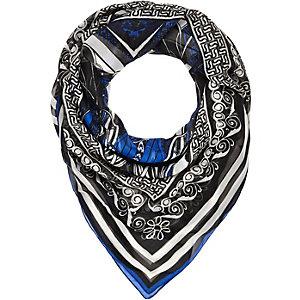 Blue printed chiffon square scarf