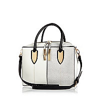White and silver boxy bowler bag