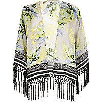 White floral print cropped kimono
