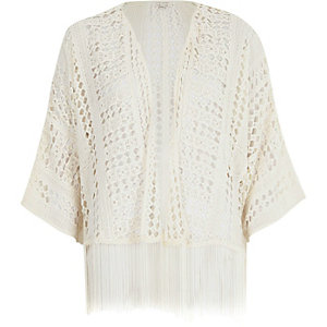 Cream crochet cropped kimono