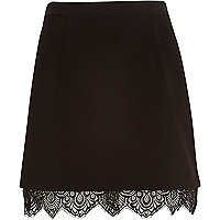 Black lace hem A-line skirt