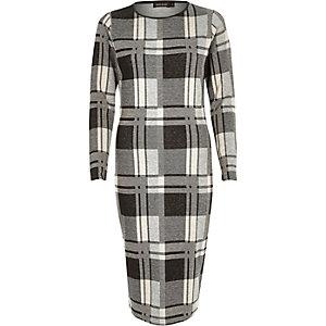 Cream check long sleeve bodycon dress