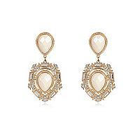 Gold tone formal dangle earrings
