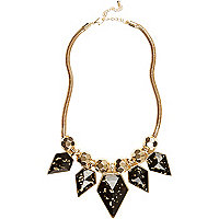 Black gold flecked statement necklace
