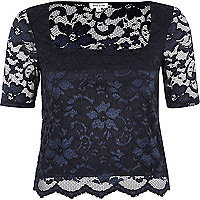 Navy lace square neck fitted top
