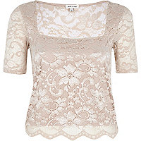 Light pink lace square neck fitted top