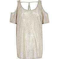 Gold metallic cold shoulder top