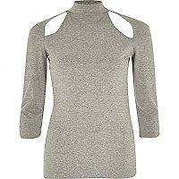 Grey marl cut out turtle neck top