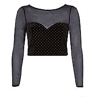 Black velvet mesh sweetheart neck crop top
