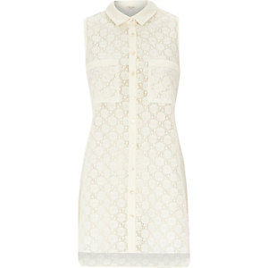 Cream lace sleeveless longline shirt