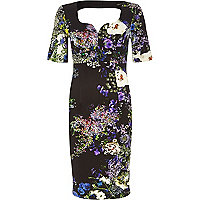 Purple floral print sweetheart miracle dress
