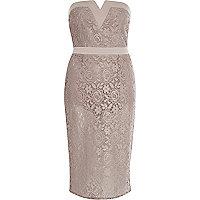 Light pink sheer lace bandeau dress