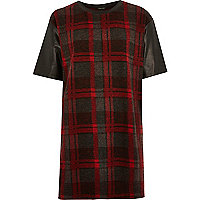 Red tartan check print oversized t-shirt