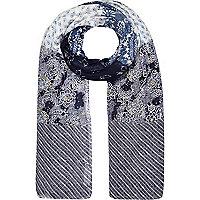 Blue mixed print lightweight scarf