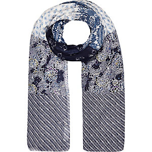 Blue mixed print lightweight scarf