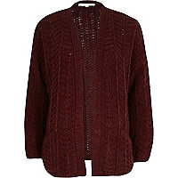 Dark red chunky zig zag knit cardigan